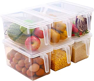 Leijing 3pcs Boîte de Rangements pour Réfrigérateur Bac Organisateur Frigo, avec Couvercle et Poignée (3 Pièces)