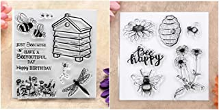 Kwan Crafts 2 Sheets Different Style Bee Happy Flowers Happy Birthday Clear Stamps for Card Making Decoration and DIY Scrapbooking