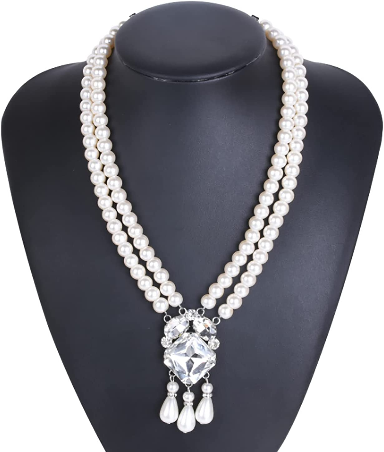 NC 20s Multi Strand Pearl Bridal Choker Necklace for Wedding Party Jewelry 20s Flapper Necklace for Party Round