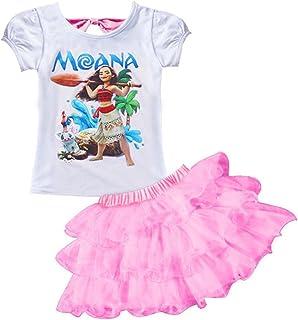 AOVCLKID Moana Little Girls' 2Pcs Suit Cartoon Shirt and Skirt Set