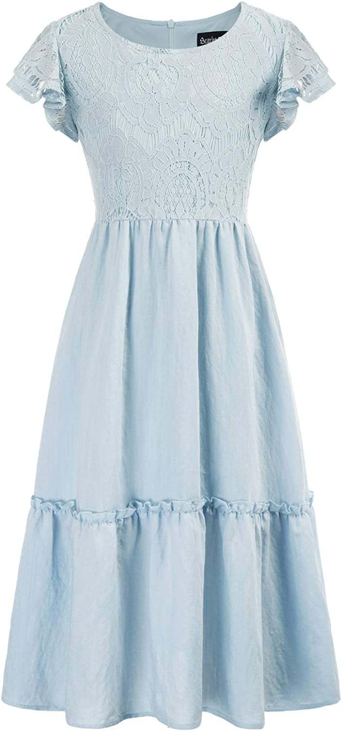 SCARLET DARKNESS Maxi Dresses for Girls Flutter Sleeves Casual Party Dress 6-12Y