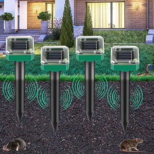 [4 Piezas] repelente solar de topos ultrasónico, repelente de topos con protección resistente al agua, repelente de moles, ahuyentador de animales, control de topos, control de plagas para el jardín