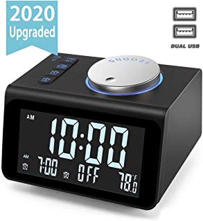 ?Upgraded? Digital Alarm Clock, with FM Radio, Dual USB Charging Ports, Temperature Detect, Dual Alarms, Snooze, 5-Level Brightness Dimmer, Batteries Operated, for Bedroom, Small Sleep Timer