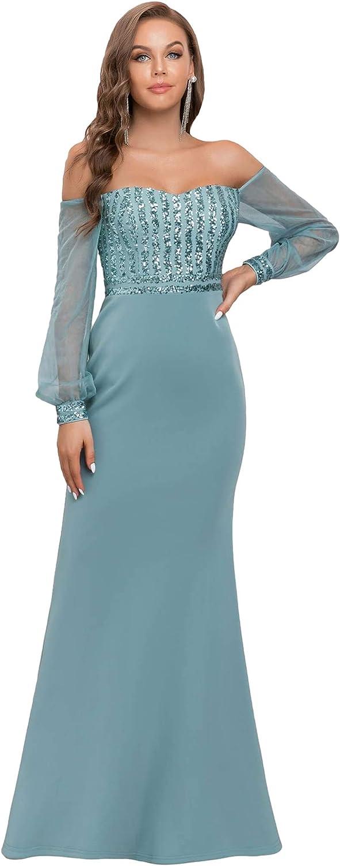 70s Sequin Dresses, Disco Dresses Ever-Pretty Womens Cold Shoulder Sequin Dress Mermaid Evening Dress 0711  AT vintagedancer.com