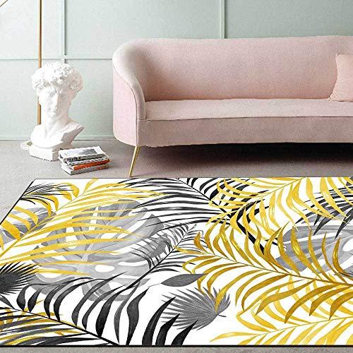 Teppich Modern Designer Teppiche Frische gelbgraue Pflanzenblätter Schlafzimmer Zimmer Teppich Sofa Tisch Kind Krabbeln Matte 160×280CM( 5ft3 x9ft3)