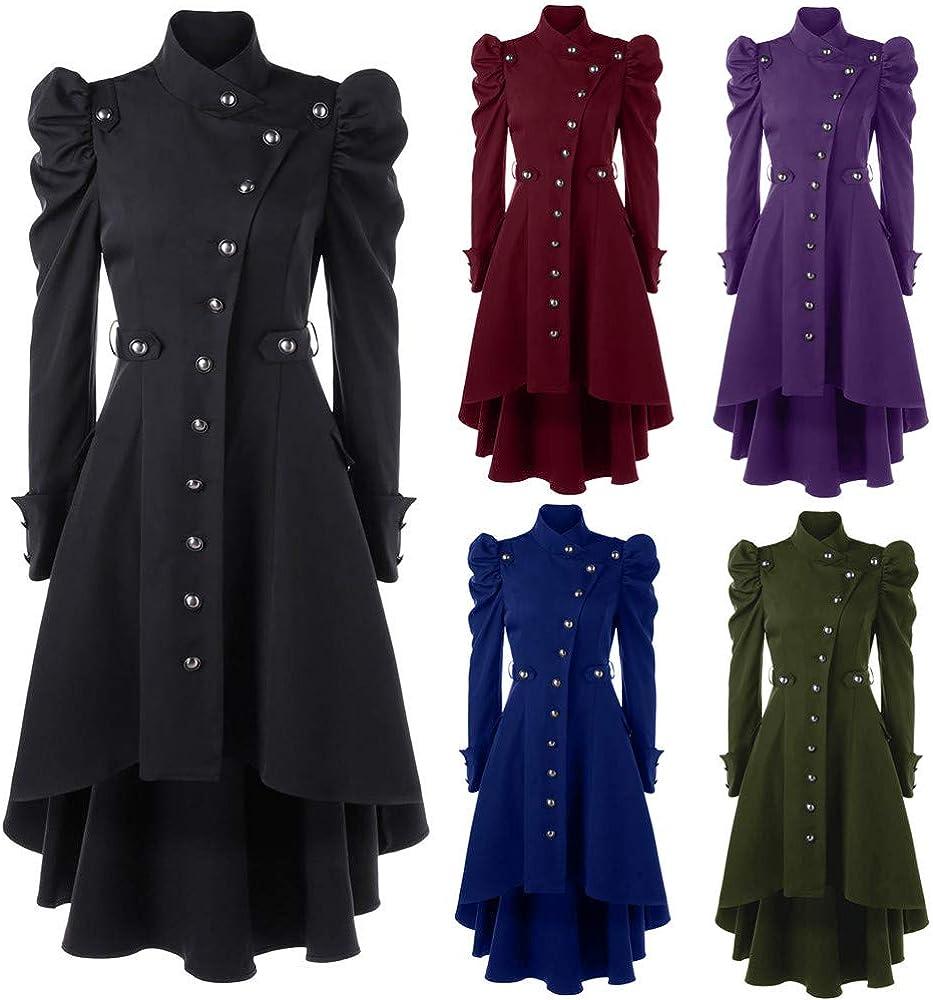 ESAILQ Damen Jahrgang Steampunk Long Coat Gothic Mantel Damen Retro Jacke Blau