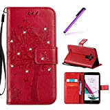 EMAXELERS Funda LG G4 PU Cuero Cartera para Tarjetas y Cierre Magnetico Soporte Plegable Funda Protectora para LG G4 Red Wishing Tree with Diamond