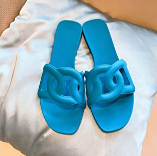 N / A Pumps voor vrouwen stijlvol, platte damesschoenen, zomer casual flat-botom één lijn stijl, dames sandalen-blauw_37