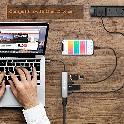NOVOO USB C Hub 6 Port Aluminium USB C Adapter mit HDMI 4K, 2 USB 3.1, Type C PD 60W (20V,3A), SD/Micro SD Kartenleser Ports für Laptop MacBook Pro 2016/2017 Samsung Galaxy S8 Huawei Type C Geräte