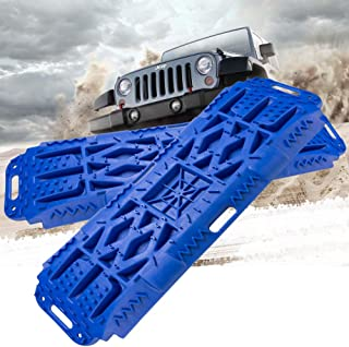 BUNKER INDUST Off-Road Traction Boards with Jack Lift Base, 2 Pcs Recovery Tracks Traction Mat for 4X4 Jeep Mud, Sand, Snow Traction Ladder-Blue Tire Traction Tool