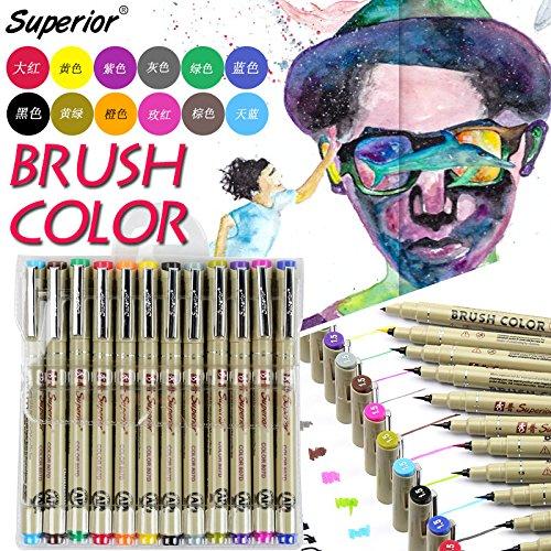 12 stks/doos Superior MS-807D Kalligrafie Pens 12 Verschillende Inktkleur Nylon Borstel Water-kleur Schets Tekening Professionele Kalligrafie Penseel Pen