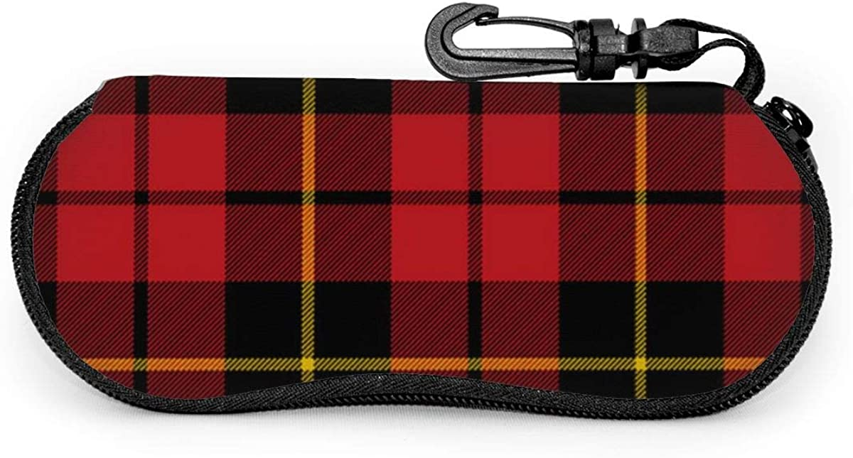 Glasses Case With Carabiner Wallace Clan Red Tartan Portable Neoprene Zipper Sunglasses Soft Case