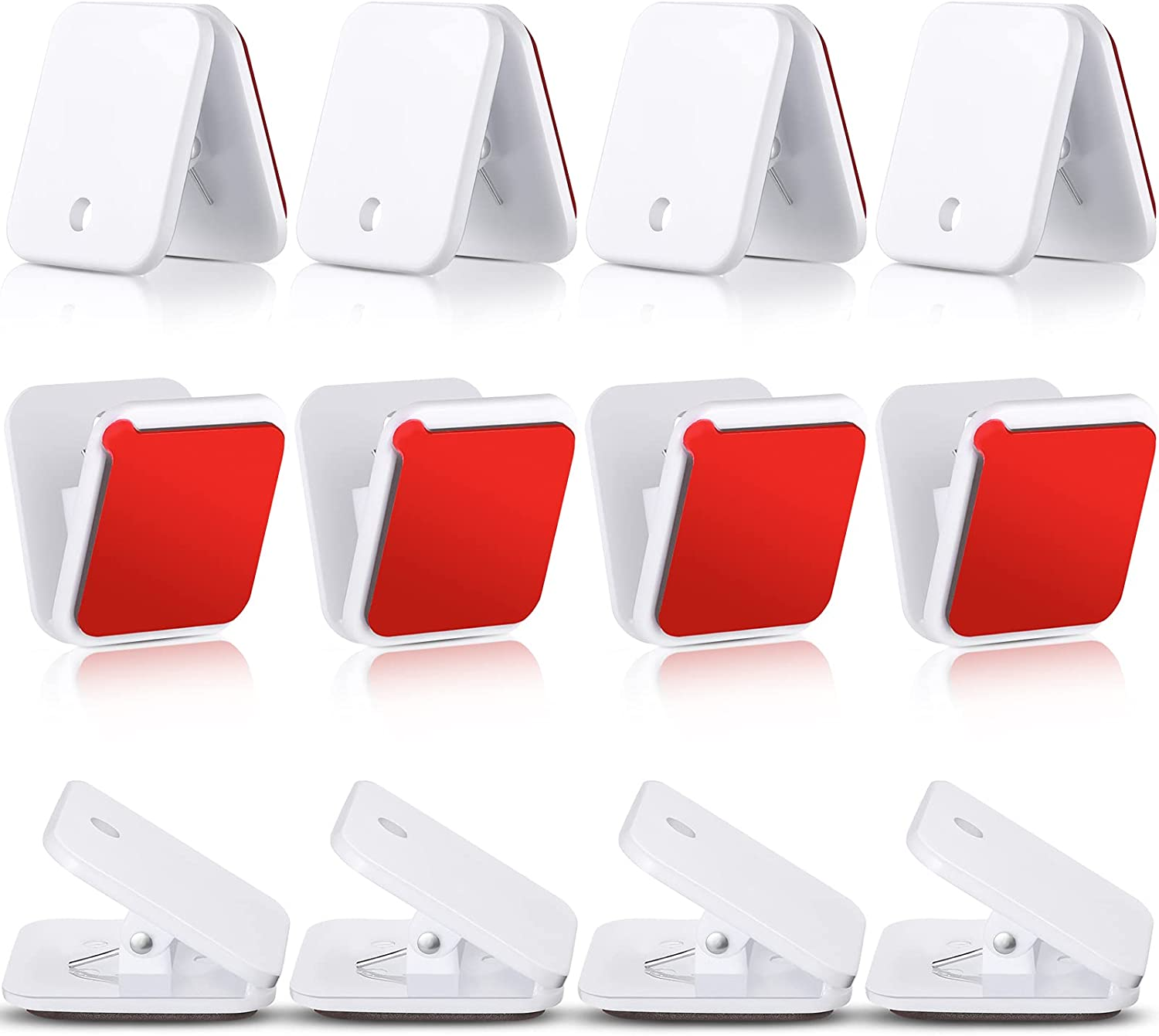 Jetec Self Adhesive Clips, Wall Clips, Shower Curtain Clips, Photo Clips for Paper Flag Hanger Double-Sided Adhesive Spring Clips for Teachers, Poster and Home Office Rope (12, White)