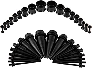 Ear Gauges Stretching Kit - 36Pcs Stainless Steel Tapers and Plugs Set, Prefect for Heavy Metal, Punk Rock, Tattoo, Street or Daily Wear