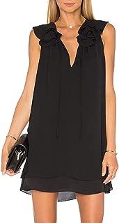 Women's Summer Strap V Neck Chiffon Sleeveless Ruffle Loose Shirt Dress Tunic Tank Top