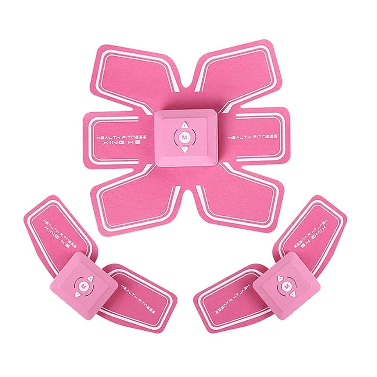 クローゼット強打雄弁家ABSトレーナーEMS筋肉刺激装置付きLCDディスプレイUSB充電式究極腹部刺激装置付きリズムソフトインパルス6モード9レベルポータブル (Color : Pink, Size : A+2B)
