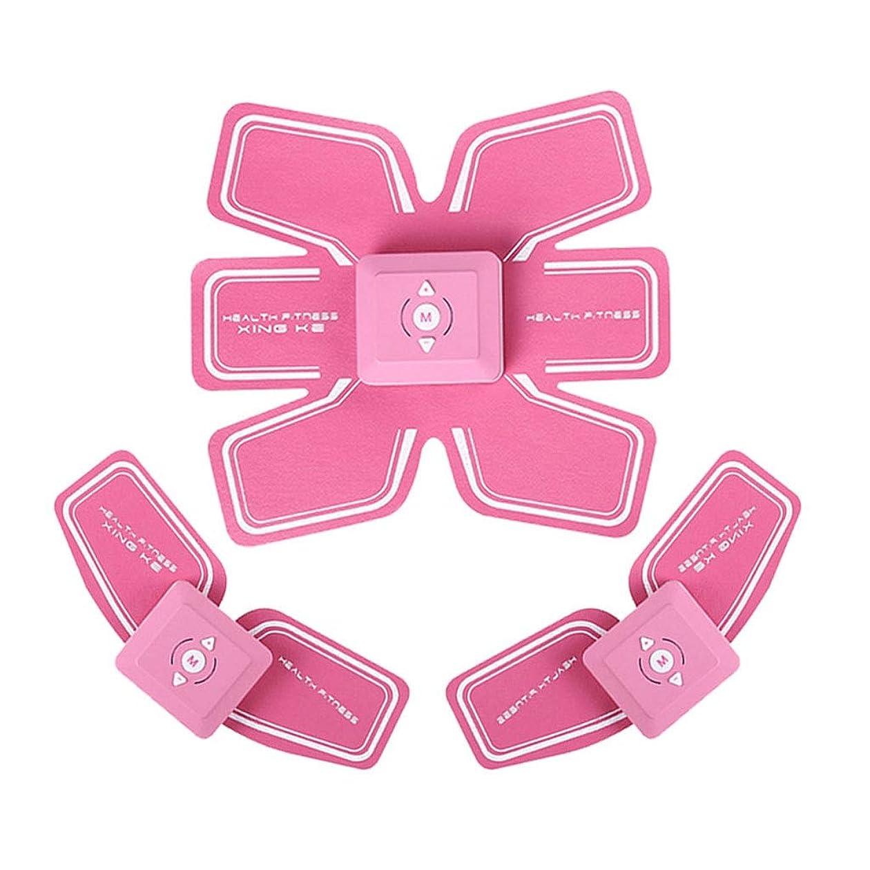 酸っぱい好意賭けABSトレーナーEMS筋肉刺激装置付きLCDディスプレイUSB充電式究極腹部刺激装置付きリズムソフトインパルス6モード9レベルポータブル (Color : Pink, Size : A+2B)