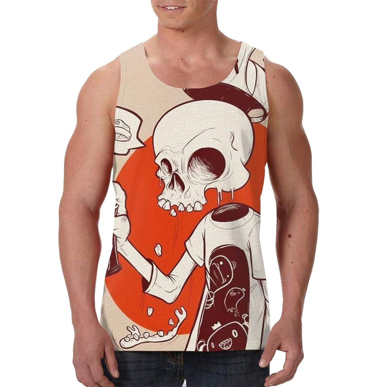 頭蓋骨 トーテム、パターンと漫画 ノースリーブのTシャツプリントレジャースポーツジムビーチヨガシニアベスト、アニメの周辺、スポーツの周辺
