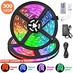 【LED STRIP LIGHTS KITS】: KDORRKU led color changing strip lights comes with 2 roll 16.4ft rgb light strips,1X 12V/5A power supply, 1X IR controller box, 1X 44 key IR remote. room lights color changing is made of 300 premium 5050 SMD RGB Leds with dim...