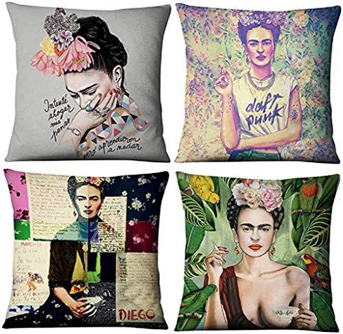 gircat 4 Stück Ölgemälde Frida Kahlo Selbstporträt Baumwolle Leinen Überwurf Kissenbezug Auto Kissen Couch Sofa Bett Cover 45,7 x 45,7 cm Muster 1 one size 10