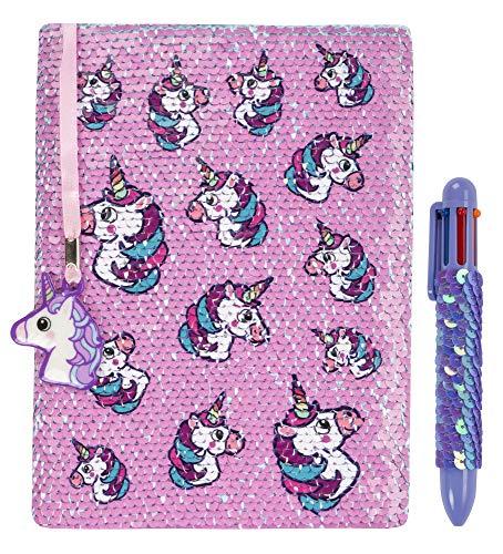 Agenda reversible con lentejuelas de FRINGOO, con bolígrafo multicolor para niñas y niños, tamaño A5, viene con marcapáginas y diseño de unicornio, 80 páginas, color Unicorns Pink/Blue