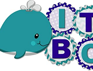 Personalized Teal & Navy Blue Whale Baby Shower or Birthday Party Banner for Boy - with Optional Decorations, Invitations, Sign, Favor Tags, Thank You Cards - Handmade in USA - BCPCustom