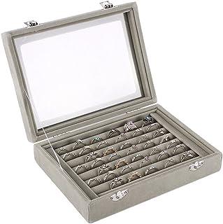 Niome Women Velvet Glass Jewelry Box Display Storage Case Holder Ring Earrings Organizer Stand (Grey)