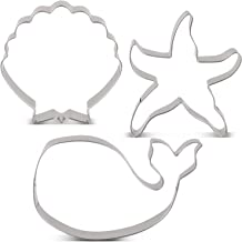 LILIAO Ocean Creatures Cookie Cutter Set - 3 Piece - Whale, Starfish and Seashell Biscuit Fondant Cutters - Stainless Steel