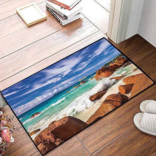 Tapis de Bain Absorbant AntidérapantCôte rocheuse exotique avec vague Seychelles Island Paradise Beach Scenery, Cinna , Tapis de douche en microfibre Tapis de cuisine de salle de bain Tapis 40x60 cm