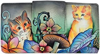 Anuschka Two Fold Organizer Wallet Flap & Zip Hand Painted Genuine Leather