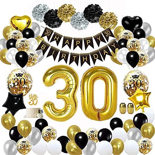 30 Ans Décorations Anniversaire de Fête en Noir Or,30 Ballons Bannières de Joyeux du 30 ans ème Anniversaire,Pom Poms en Papier,Ballons en Feuille pour Hommes et Femmes Adult Decor Réutilisable