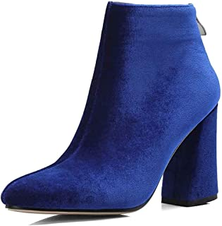 effde6854641 Women's Simple Elegant Dressy Pointed Toe Ankle Booties Faux Suede High  Block Heeled Short Boots with