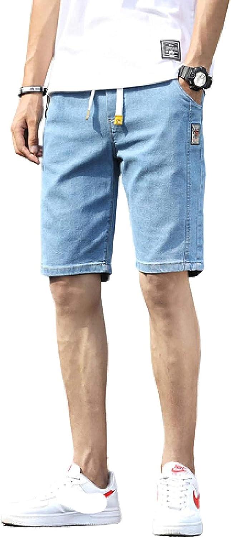 LLTT Men's Denim Shorts Slim Fit Straight Stretch Five-Point Pants Plain Coloured