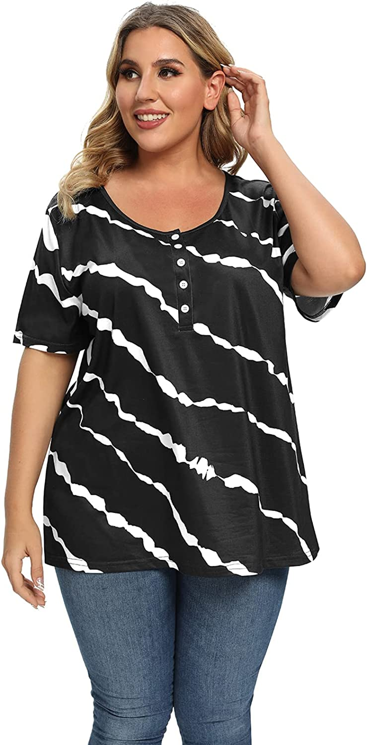 Womens Plus Size Buttons Down Tops Summer Short Sleeve Crewneck Tshirts Loose Casual Tee Shirts