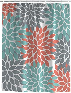Shower Curtain for Bathroom, Dahlia Pinnata Flower Teal Coral Gray Decor 72x78inch Waterproof Polyester Fabric Shower Rings Included