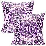 Stylo Culture Cojines Decorativos étnicos para la Cama Fundas de cojín Floral Impreso púrpura 40 X 40 Cuadrado de algodón Tradicional...