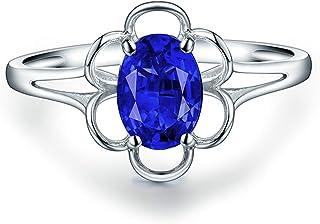Daesar Anello Fidanzamento Donna Oro Bianco 18K, Anelli Promessa di Matrimonio Anello con Tanzanite 0.6ct Fiore Anello in ...