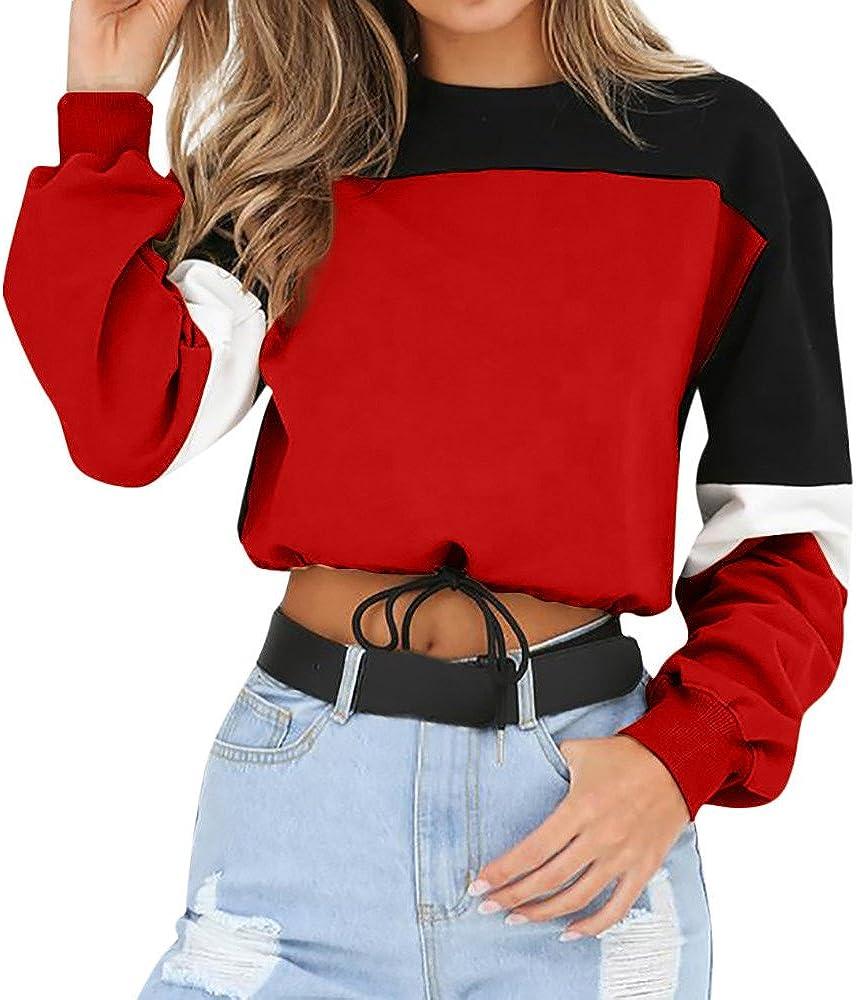 Women Color Block Splice Pullover Vintage Long Sleeve Cute Sweatshirt Crop Top Blouse