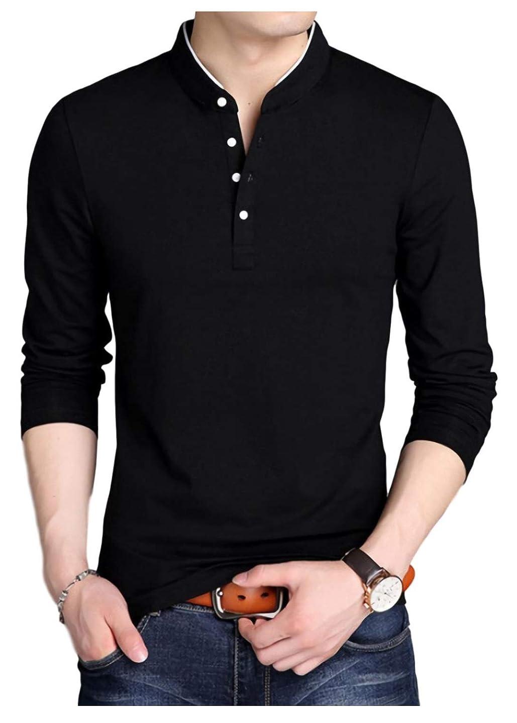 限りなくソートインチ[パリド] スタンドカラー ロング tシャツ 立ち襟 ロンt 無地 長袖 シンプル キレカジ メンズ S ~ 4XL
