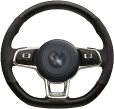 Loncky Black PU Carbon Fiber Suede Custom Steering Wheel Covers for 2015 2016 2017 2018 Volkswagen Jetta GLI VW / 2015 2016 2017 VW Golf R / 2015-2018 VW Golf 7 MK7 GTI Interior Accessories Parts