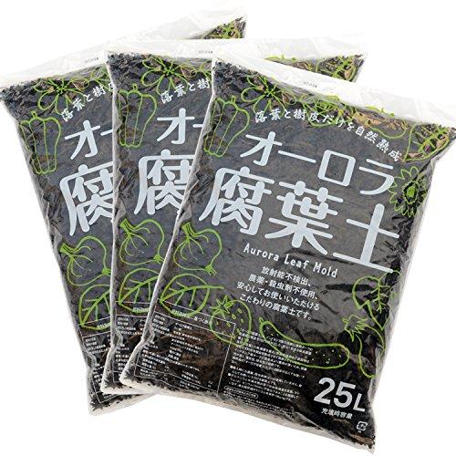 オーロラ腐葉土【25L/放射能不検出】×3袋セット
