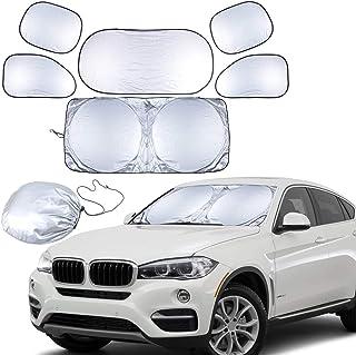 Rag & Sak® Full 6 Pcs Car Windshield Sunshade UV Protector Folding Silver,Car Window Sun Shade Visor Shield Cover, Sun Sha...