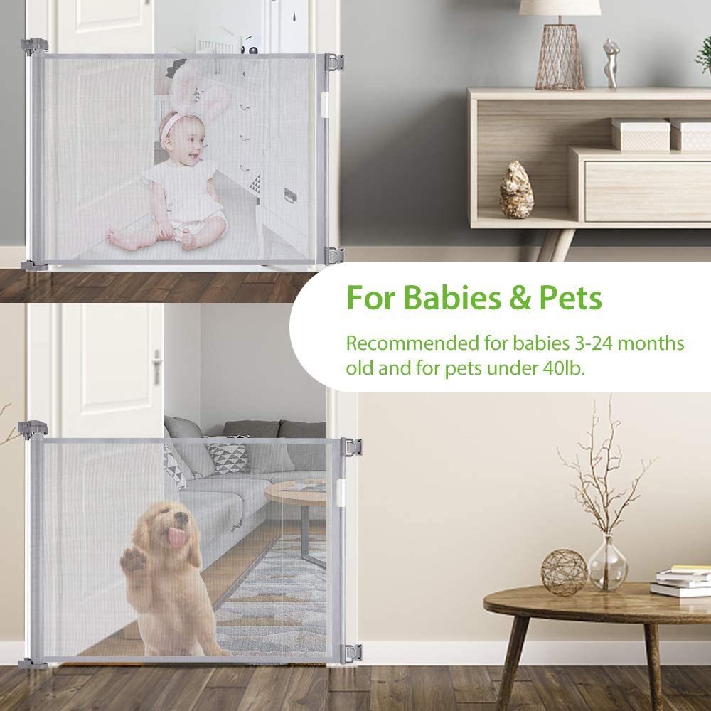 Extra Wide Baby Safety Gate and Pet Gate for Stairs Extends up to 54 Wide Mesh Baby Gate with Easy Latch and Flexible Design Fits Most Spaces Grey Doors Retractable Baby Gate 34 Tall