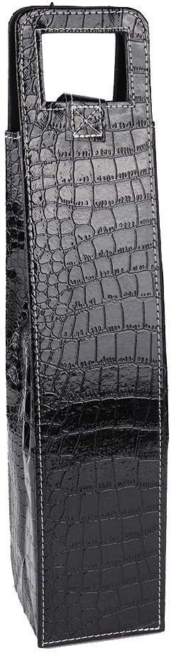 negro rojo Pu Bolso de mano de vino reutilizable de cuero port/átil Champagne Beer Gift Bags Carrier Negro 1 juego