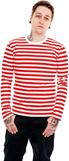 Mens Indie Retro 60's Red & White Striped Long Sleeve T Shirt