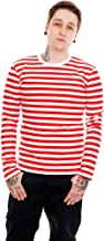 Run & Fly Mens Indie Retro 60's Red & White Striped Long Sleeve T Shirt