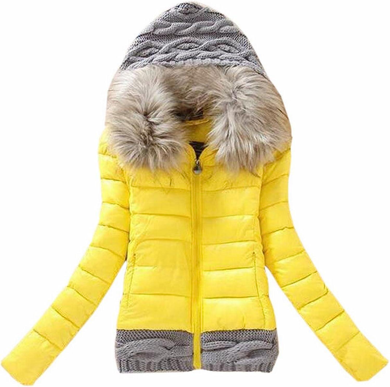HTOOHTOOH Women's Winter Splice Full Zip Faux Fur Hooded Puffer Parkas Coat