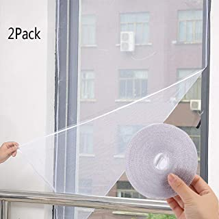 DIY Self-Adhesive Window Screen Netting Mesh Curtain, 130X150cm (Approach 51x59 Inches), with Hook Sticky Tape, Fitted to Multiple Windows (2 Pack)