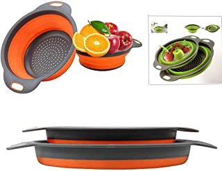 """Colander Set - 2 Collapsible Colanders (Strainers) Set By DLD - Includes 2 Folding Strainers. Sizes 8"""" - 2 Quart, and 9.5""""..."""
