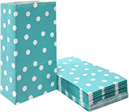 100 PCS Teal Paper Party Favor Bags Polka Dot Paper Lunch Bags for Snack Nuts Goodie Treat Bags for Kids' Birthday Wedding Party Favor Bags(5.1 x 3.1 x 9.4 in Teal Blue)